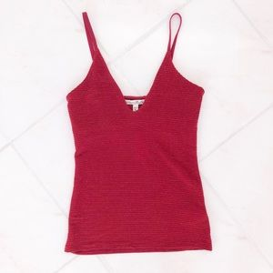 Red Glitter Stripe Cami